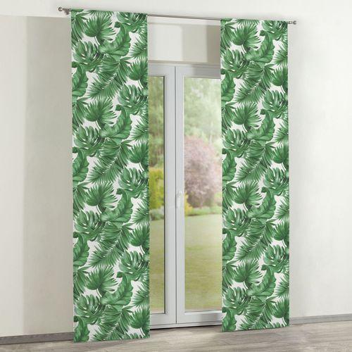 zasłony panelowe 2 szt., zielone liście na białym tle, 60 x 260 cm, urban jungle marki Dekoria