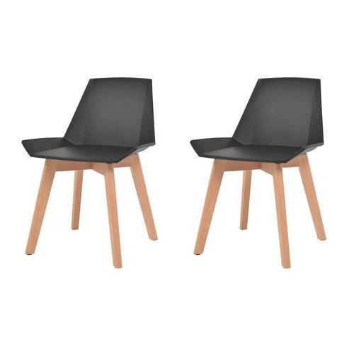 Komplet 2 krzeseł, drewniane nogi i czarne, plastikowe siedziska, kolor czarny
