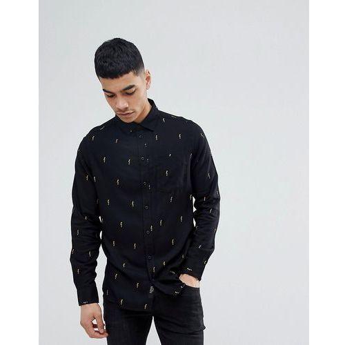 Boohooman regular fit shirt with thunderbolt print in black - black