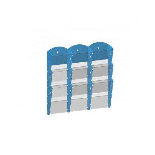 Plastikowy uchwyt ścienny na ulotki - 3x3 a4, niebieski marki B2b partner
