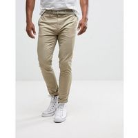 skinny chinos with belt in stone - stone, Pull&bear