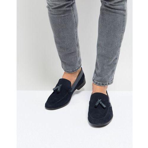 Silver street tassel loafers in navy suede - blue