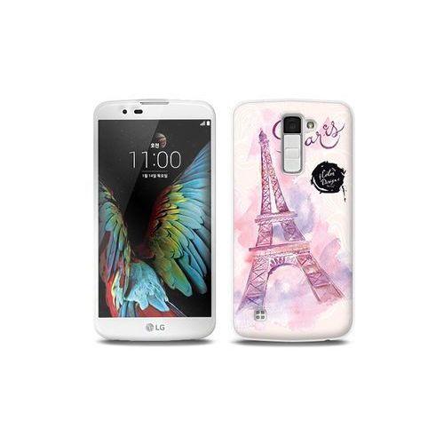 LG K10 - etui na telefon Full Body Slim Fantastic - różowa wieża eiffla, kolor różowy
