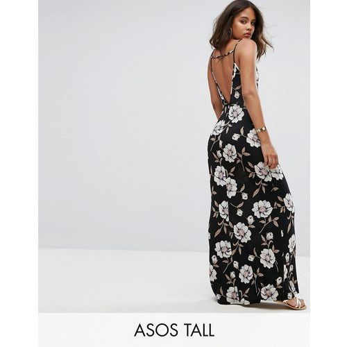 ASOS TALL V Back Maxi Dress In Dark Floral - Black, kolor czarny