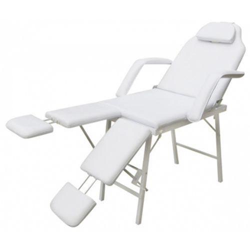fotel kosmetyczny z regulacją podnóżków biały marki Vidaxl