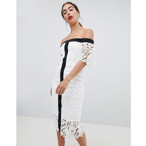 lace off the shoulder midi dress - white marki River island