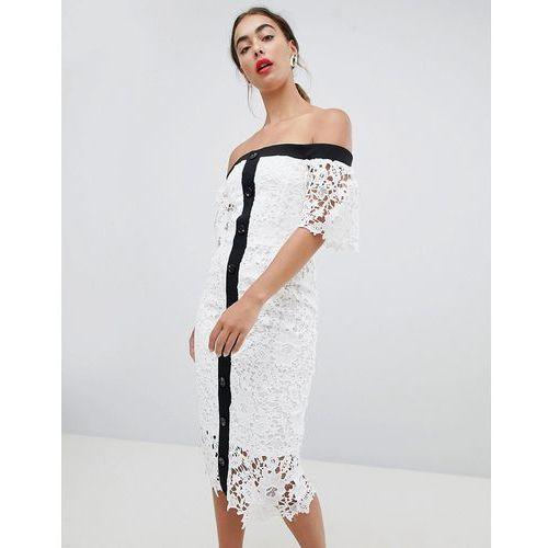 lace off the shoulder midi dress - white, River island