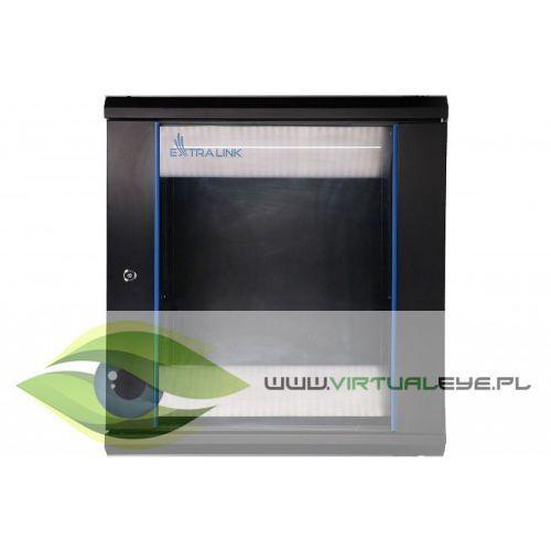 Extralink Szafka wisząca rack 12U 600x600 czarna szklane drzwi, 1_656159