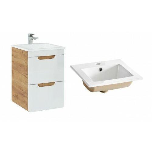 COMAD szafka Aruba White 40 2S dąb craft złoty/biały połysk + umywalka Square 40 ARUBA 823 + CFP-9048B/8023, kolor dąb