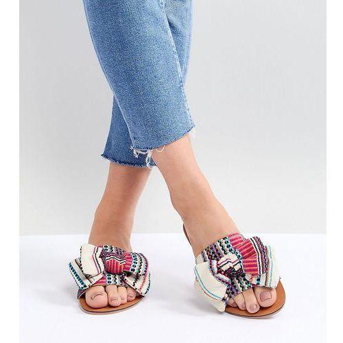 design vintage wide fit bow flat sandals - beige marki Asos