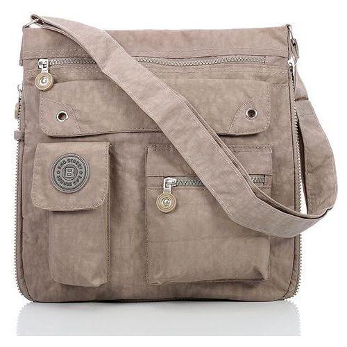 Beżowa listonoszka raportówka sportowa torebka damska - beżowy marki Bag street