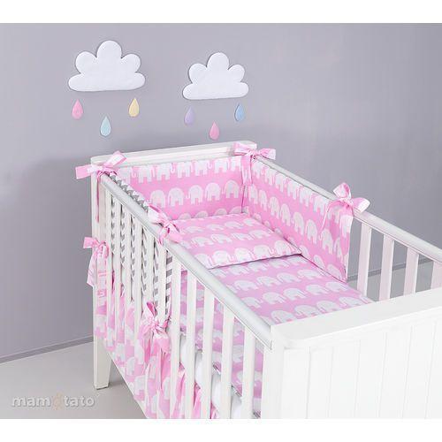 Mamo-tato ochraniacz rozbieralny do łóżeczka 60x120 słoń różowy / zygzak szary