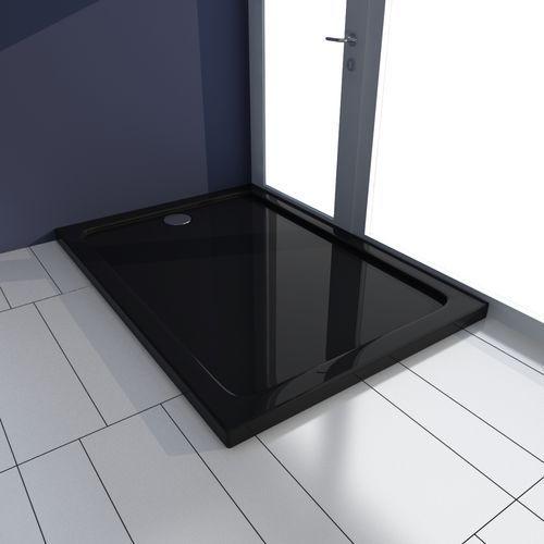 vidaXL Brodzik prysznicowy prostokątny ABS czarny 70 x 100 cm
