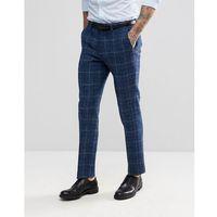 ASOS Slim Suit Trousers in 100% Wool Harris Tweed Herringbone In Blue Check - Blue