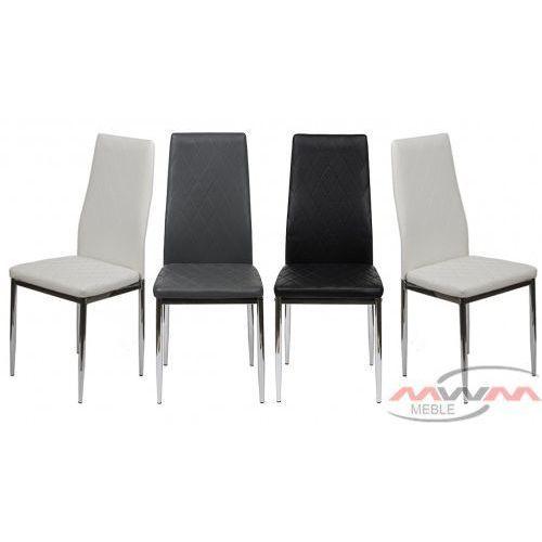 4 krzesła tapicerowane k1 romb nogi chrom marki Meblemwm