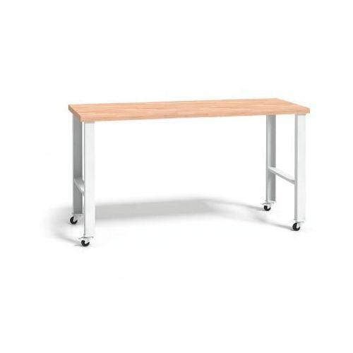B2b partner Stół warsztatowy z drewnianym blatem, regulowane nogi z kółkami, 2000mm