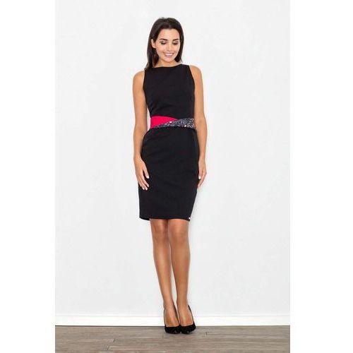 Czarna sukienka wizytowa bodycon z kontrastową szarfą, Figl, 36-42