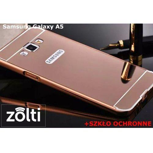 Zestaw   Mirror Bumper Metal Case Różowy + Szkło ochronne Perfect Glass   Etui dla Samsung Galaxy A5, kolor różowy
