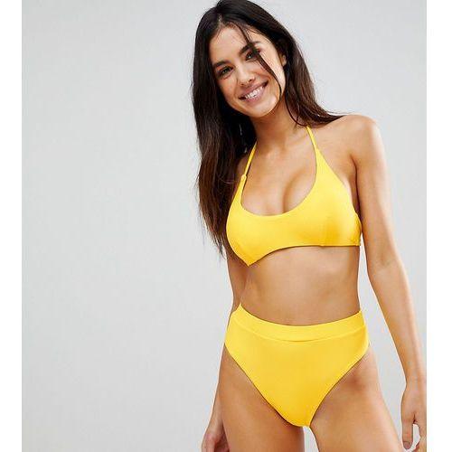 South Beach Mid Rise High Leg Bikini Bottom - Yellow, kolor żółty