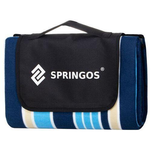 Koc piknikowy plażowy 130x170 cm mata niebieskie pasy, kolor niebieski