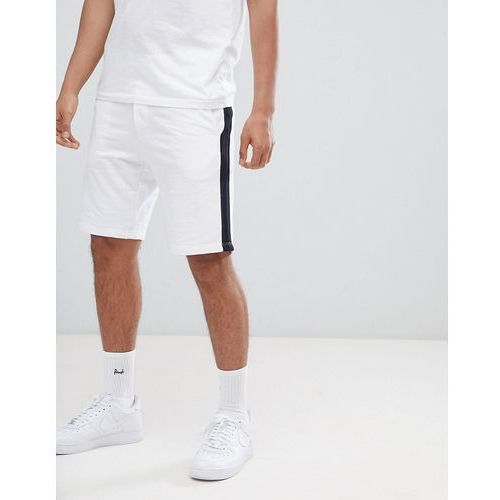 Bershka Jogger Shorts With Side Stripe In White - White