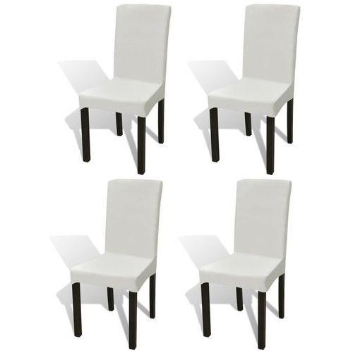 Vidaxl elastyczne pokrowce na krzesło w prostym stylu kremowe 4 szt. (8718475978756)