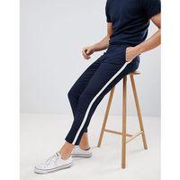 Burton Menswear Side Stripe Trousers In Navy - Navy, kolor szary