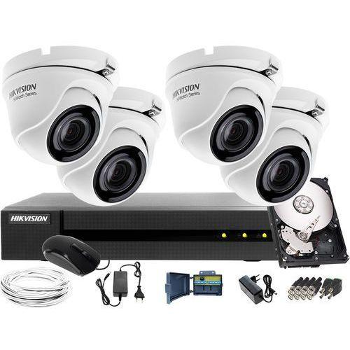 Zestaw do monitoringu z 4 kamerami do firmy, hurtowni Hikvision Hiwatch HWD-6104MH-G2, 4 x HWT-T120-M, 1TB, Akcesoria, ZM10485