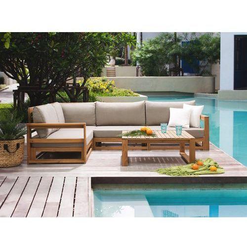 Meble ogrodowe brązowe - drewniane - tarasowe - sofa + stół - TIMOR (7105278403508)