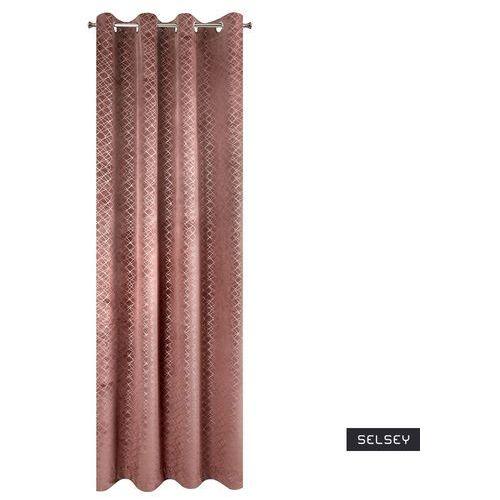 Selsey zasłona brunaulf 140x250 cm welwetowa z ozdobnym nadrukiem ciemnoróżowa (5903025475479)