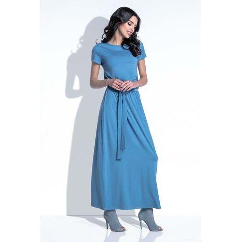 Fobya Niebieska sukienka maxi z wiązanym paskiem