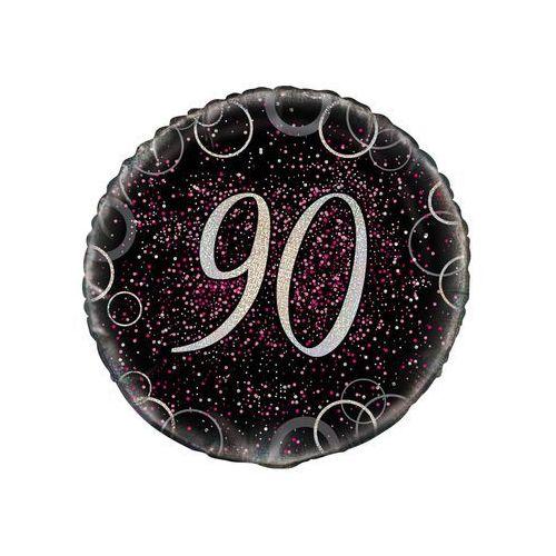 Unique Balon foliowy błyszczący różowy - 90tka - 47 cm - 1 szt. (0011179558018)