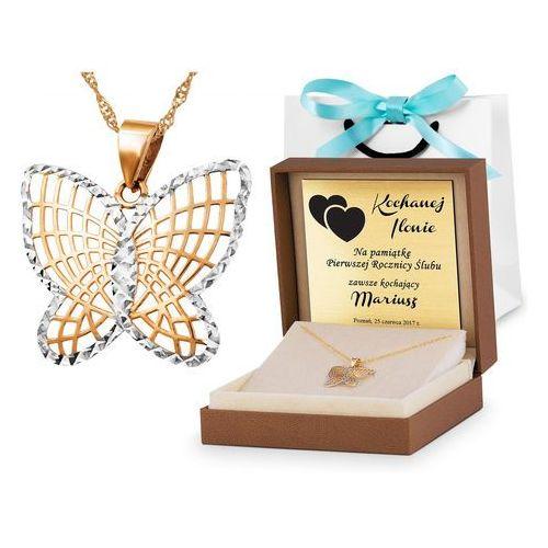 Murrano Złoty łańcuszek z zawieszką 333 motylek grawer zz59
