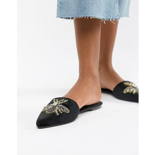 black pointed mule with bee embellishment - black, Glamorous