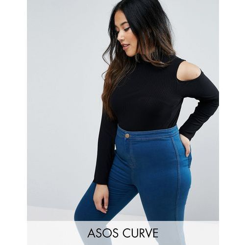 Asos curve  top with cold shoulder and high neck in clean rib - black