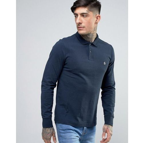 Original penguin  winston pique polo long sleeve slim fit in navy - navy