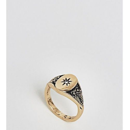 ASOS DESIGN Curve vintage style signet pinky ring - Gold, kolor różowy