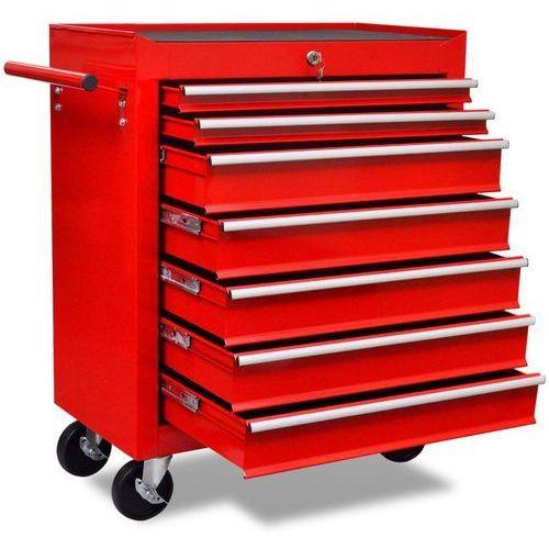 Vidaxl czerwony wózek narzędziowy/warsztatowy z 7 szufladami