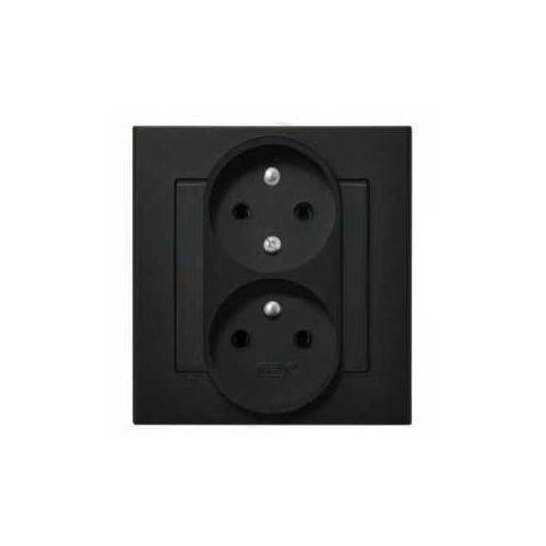 Ospel Gniazdo podwójne b/u ip20 16/250, (z niezamien.faz) z ramką, czarny gp-2rc/33 sonata (5907577446833)