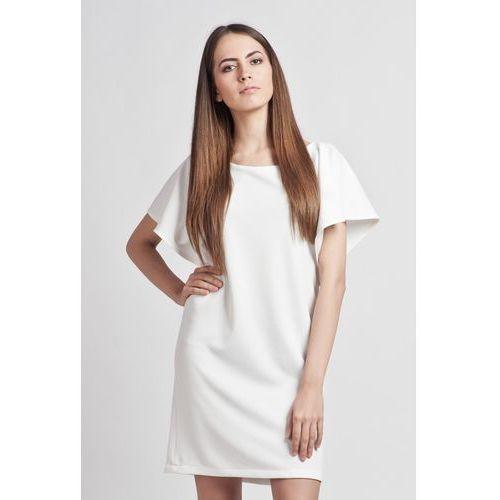 Lanti Biała prosta elegancka sukienka z rękawkami typu nietoperz