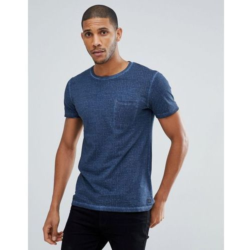 t-shirt in navy texture with pocket - navy, Tom tailor, S-L