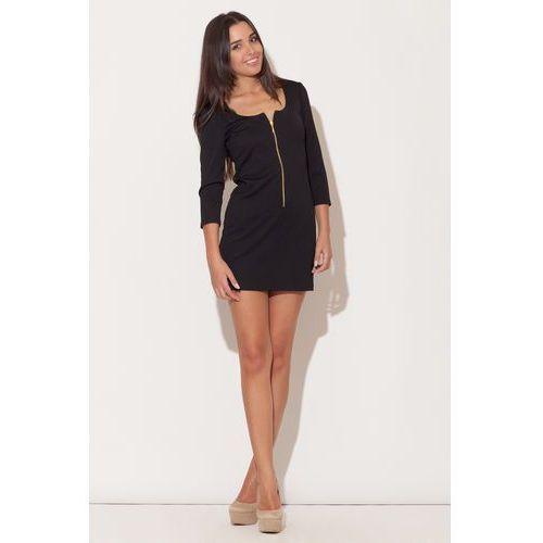 Czarna mini sukienka z długim suwakiem, Katrus, 36-42