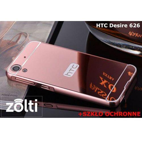 Zestaw   mirror bumper metal case różowy + szkło ochronne perfect glass   etui dla htc desire 626 marki Mirror bumper / perfect glass