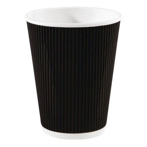 Jednorazowe kubki do kawy karbowane czarne 340ml / 12oz marki Fiesta