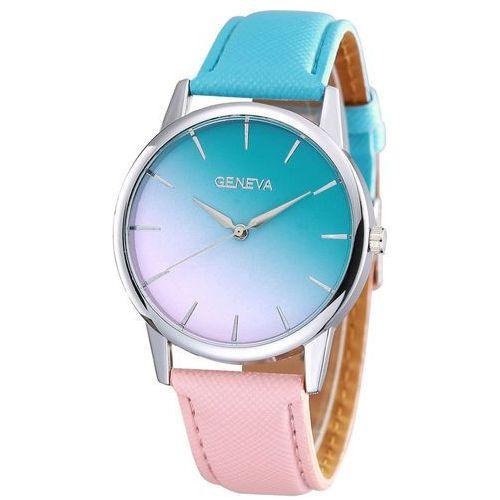 Zegarek ombre turkus koral - blue pink marki Geneva