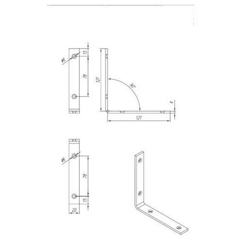 Domax Kątownik wąski ocynkowany kw 6 125x125x20x4,0 mm