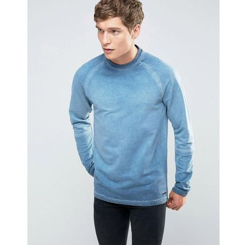crew neck sweat with cut and sew raglan sleeve in oil wash - navy marki Only & sons