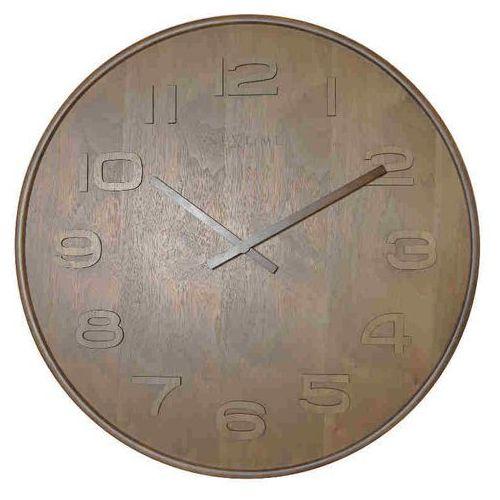 NeXtime Zegar ścienny brązowy - 'Wood Wood Medium', kolor brązowy