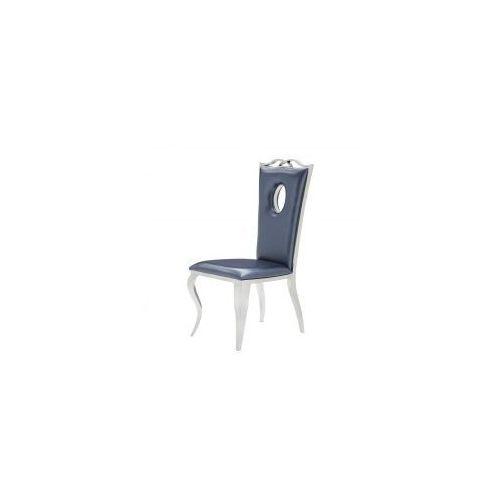Krzesło glamour Luxury Blue Eco - nowoczesne krzesło tapicerowane ekoskóra, Luxury/KRP/blue/eco