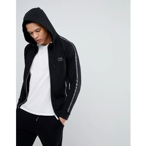 hooded jacket in black with side stripe detail - black, Antony morato